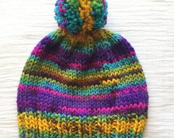 Rainbow Chunky Knit Beanie Hat with pom pom adult size hat oversized pom pom adult knit hat