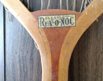 """Antique Rev-O-Noc """"Riverside"""" Tennis Racket.Circa 1910 with Old Gut Strings this Tennis Racket is perfectly aged with great patena."""