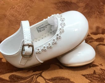 Baby shoes ivory or white christening and baptism crystal