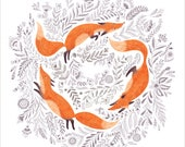 SMALL SIZE - Fox and flowers poster, Black and white drawing, folk art print, wall decor