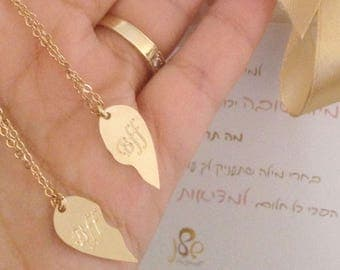 Half heart necklaces, split heart necklace, friendship necklace, bff necklace, cut heart necklace, heart necklace
