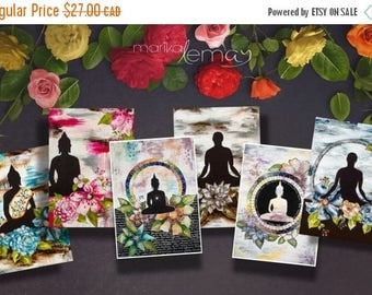 VENTE 50% 6 Bouddha card pack floral and zen by Marika Lemay mixed media artist with Bouddha flowers in a zen decor to bring calm and inspir