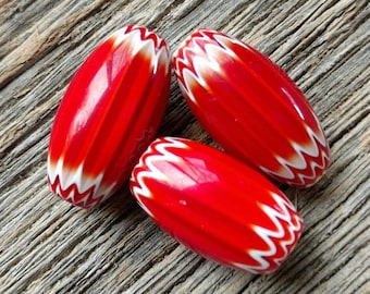 Six Layer Red and White Chevron Beads set of 3