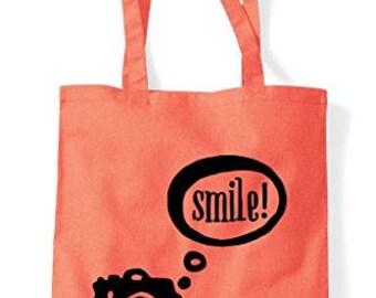 Camera Speech Bubble Smile Tote Bag Shopper
