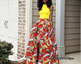 Barbara Ankara Maxi Skirt (XS - 6XL) 3 Color Options