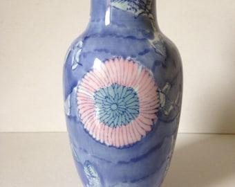 Chinese Vase, Oriental Vase, Asian Vase, Hand Painted Vase, Porcelain Vase, Floral Vase, Blue Vase, Vintage Vase, Ceramic Vase, Flower Vase