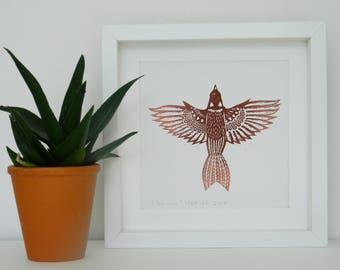 Sparrow - an original lino print