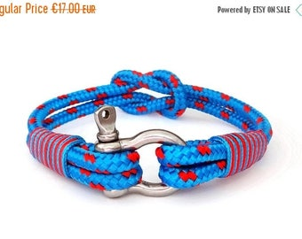 15%OFF Nautical bracelet/Sailor Bracelet/Bracciale nautico/mens anchor bracelet/paracord bracelet/Shackle Bracelet/Pulsera hombre