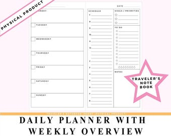 Daily Planner With Weekly Overview Travelers Notebook Insert Midori, Fauxdori, Foxy Fix #6 Style Refill Undated