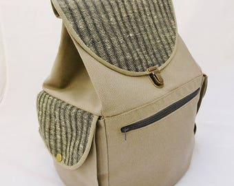 Waterproof backpack/cotton grey striped linen fabric