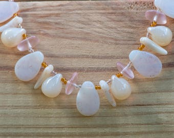 Rose and Mother of Pearl glass Necklac