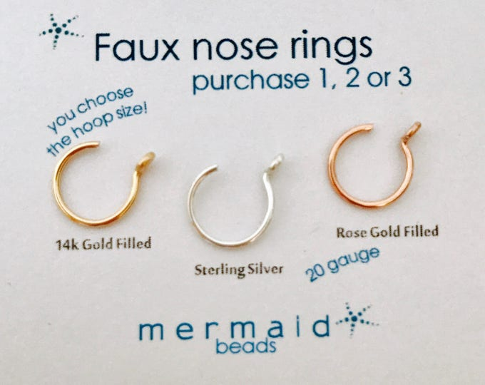 Faux Nose Ring Fake Nose Ring Tiny Cartilage Earring Fake Lip Hoop Septum Ring Helix Tragus Faux Hoop Gold Silver Rose Gold Fake Ring Conch