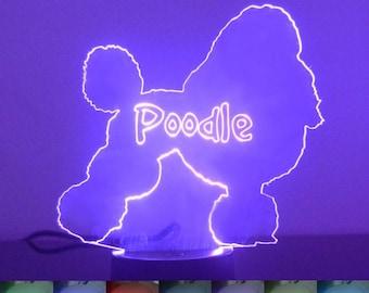 Poodle Dog Colour Changing LED Acrylic Light
