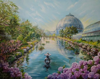 Landscape painting Commission oil painting Detroit skyline painting Custom painting photo gift|for|her Belle Isle Botanical garden painting