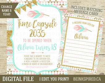 Time Capsule, First Birthday Time Capsule, Time Capsule Sign, Matching Card, Wild One Birthday Party, Pink Mint Gold, OLIVIA, DIGITAL FILE