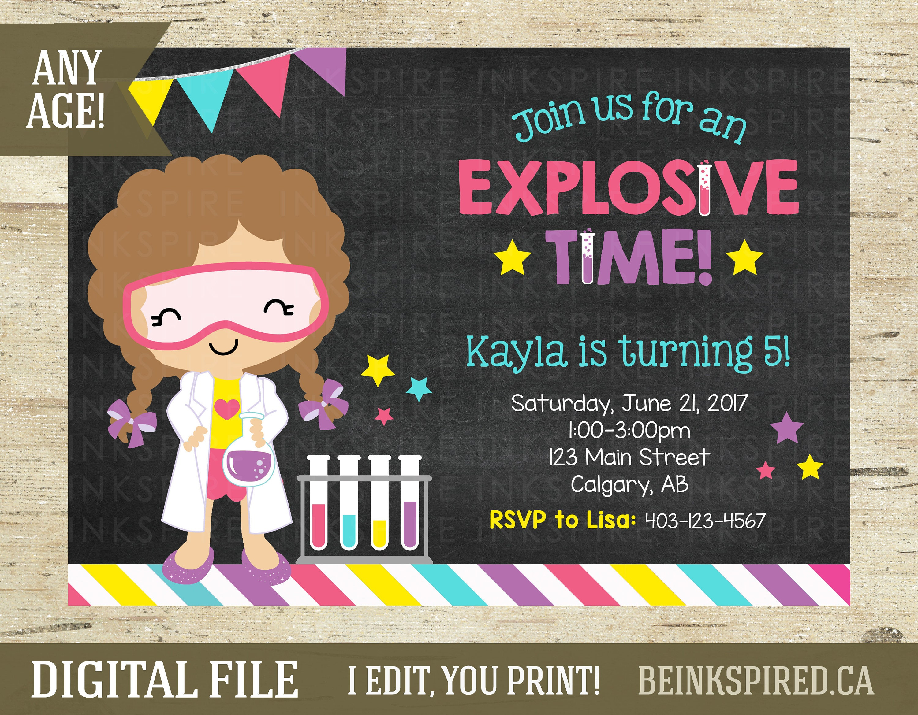 Girl Science Birthday Invitation Science Party Science Invite Mad