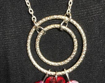 Red Swarovski heart silver necklace