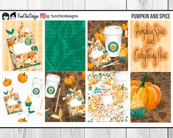 Pumpkin Spice Fall Weekly Planner Kit | ECLP | Stickers