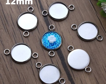 10pcs 12mm Hypoallergenic Stainless Steel High Quality Cabochon Connector Pendant Charm Settings Cabochons Blanks DIY Jewelry Supply