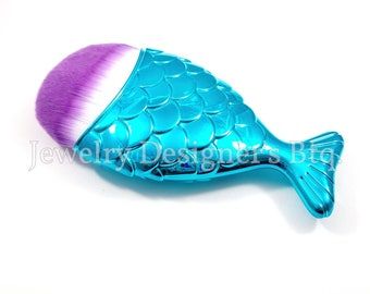 Mermaid Tail Makeup Brush, Mermaids Cosmetic Brushes, Fish Scale Brushes, Synthetic Face Brush - 1 Piece - Blue