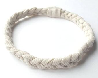 Cream braided baby headband, braided baby headband, braided newborn headband, cream baby headband, beige baby headband