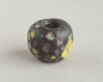 Ancient  Roman  Mediterranean glass bead, Ancient glass paste crumb bead, Old bead I-IV c. A.D.