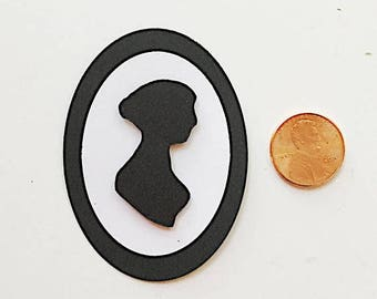 On Sale: Jane Austen Silhouette  3-D embellishment, paper craft, mailart, scrapbooking, vintage, snailmail, Letter Writing,card making,bibli