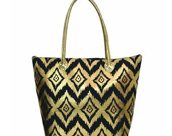 Personalized Gold Ikat Shoulder Bag - Navy