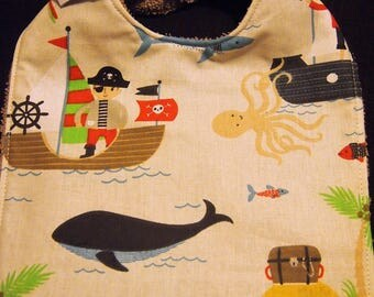 Cotton Baby bib pirates and Terry taupe