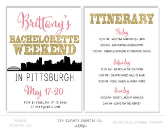 PITTSBURGH Bachelorette Party Invitation and Itinerary - Pittsburgh Bachelorette Invitation - Pittsburgh Itinerary - Printable Invitation