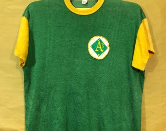 50s Vintage Oakland Athletics By Russell Southern Co. Team MLB Jersey Rayon Materials Adults XL Size Chest 22""