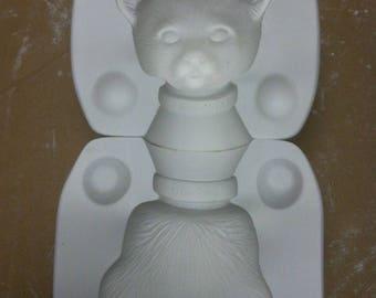 Vintage Estate Leapy Leopard Porcelain Cat Head Ceramic Mold MD2856 Bell B5