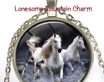 White Horses Running Glass Necklace