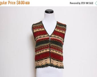 25% OFF VTG 90s Button Down Knit Green Red Grandpa Vest S