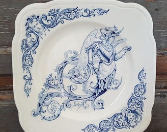ON SALE Blue TRANSFERWARE Antique French Angel Griffin Chimera Ironstone Faience Dessert Plate Signed Terre De Fer Renaissance Clairefontain