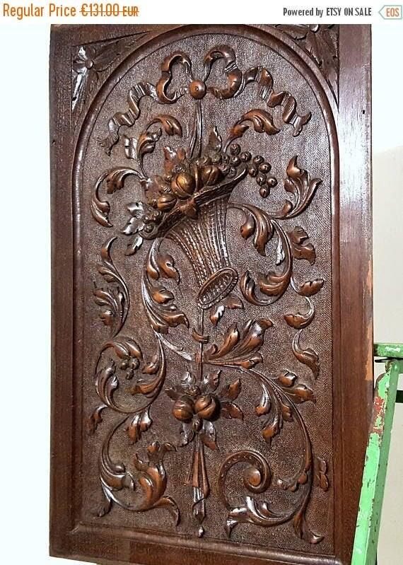 Antique Wood Paneling: ON SALE SOLID Carved Wood Panel Antique French Oak Bow Basket