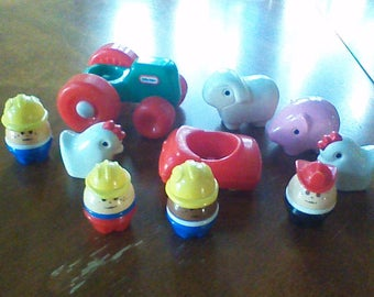 Lot of Vintage Little Tikes People, Animals, Vehicles, African American Construction Worker, Fireman, Farm Tractor, Chicken, Pig, Sheep, Car