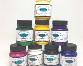 Jacquard Neopaque 8 Colour Starter Pack - High Pigment Opaque Paints - 70ml - Textile Leather Wood