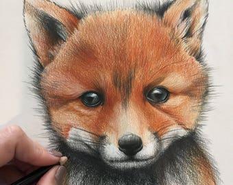 Cute baby fox art print A4