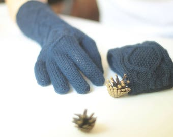 Women's long gloves Winter/Fall 100% pure wool Hand knit warm hand warmers mittens armwarmers lady warm dark blue gloves Gift for her!