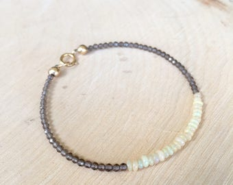 Smoky Quartz and Opal Bracelet, Delicate Multi Gemstone Beaded Bracelet, Ethiopian Opal Jewelry, 14K gold fill