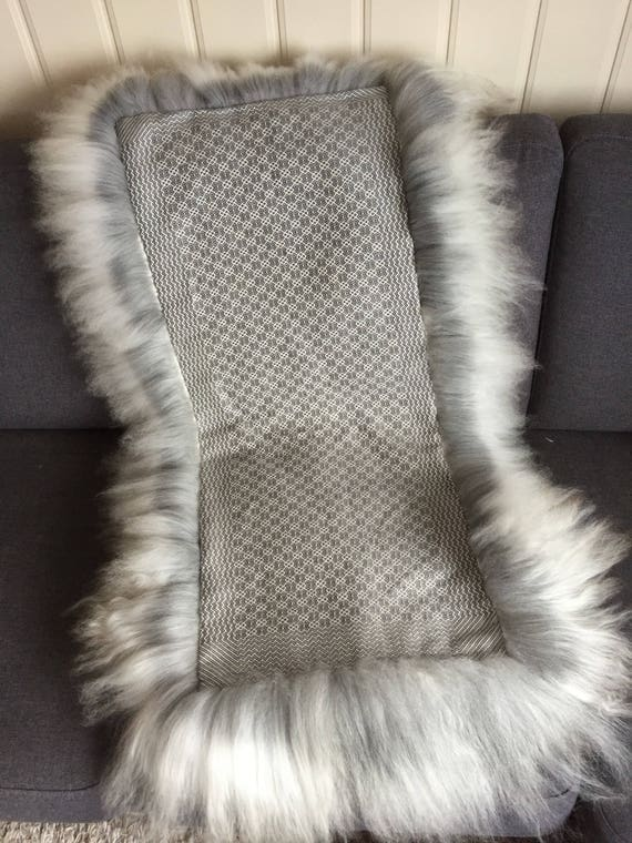 Sheepskin rug with hand woven cloth on back side hand made skinfell Norwegian traditional sheep skin blanket grey