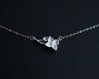 Flower Leaf Connector Necklace in Sterling Silver - Floating Flower Necklace - Flower Jewelry  - Flower Branch necklace - Gift for her