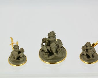 Antique Lava Cameo Pendant and Earrings Circa 1885 Italian Putti Angel 18K
