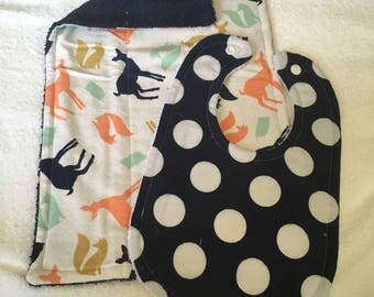 Woodland creature burp cloth and bib set
