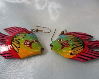 Multicolored Wooden Fishes Dangle Pierced Earrings