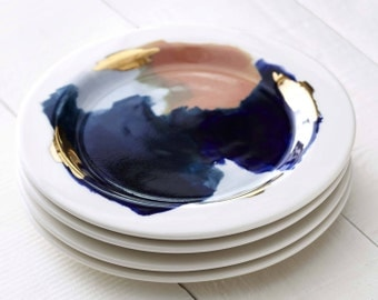 Glacier Hand Painted Porcelain Dessert Plate with 14K Gold Luster, Peach, Pink, and Navy Blue // Perfect for an Organic, Modern Kitchen