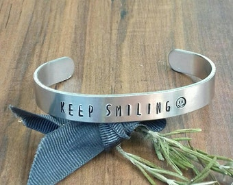 Smiley Face Gift, Keep Smiling Gift, Happy Gifts, Cheer Up Gifts, Hand Stamped Cuff Bracelet, Gifts For Teens, Gifts For Friends,