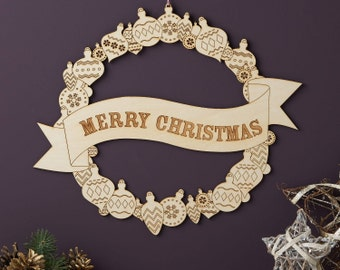 Merry Christmas Wooden Wreath