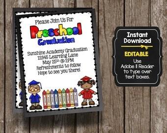 50% OFF SALE Preschool Graduation Invitation - Classroom Teacher - Editable - Instant Download - Chalkboard - Printable